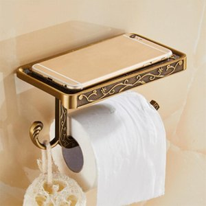 New 1PC Antique Bathroom Paper Mobile Phone Holder 3 Colors With Shelf Bathroom Towel Rack Toilet Paper Holder Tissue Boxes T200425