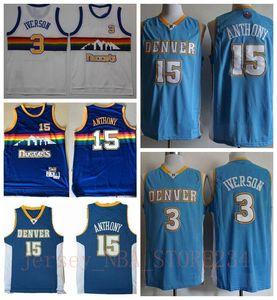 Mens 15 Carmelo Anthony azul retroDenverPepitas de New Vintage Carmelo Anthony Allen Iverson Vancouver jerseys del baloncesto