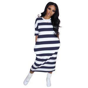 Women T Shirt Dress Oversized 1 2 Short Sleeves Striped Boho Midi Dresses with Pocket 4 Colour Select Size (S, M, L, XL, XXL)