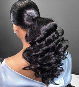 Fashion women loose wave ponytail hairpiece Sleek Human hair Drawstring ponytails brazilian virgin hair pony tail extension 140g #1 color