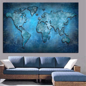 Abstract Wall Art 3D World Map Canvas Painting Modern Globe Map Posters & Prints Office Meeting Room Decor Wall Art Picture Cuadros