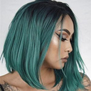 """Fashion Two Tones Synthetic Lace Front Wig Straight Hair Bob Wigs Dark Green Color Lace Front Cosplay 14 """"short Wigs for Women"""