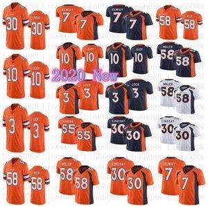 2020 Hombres DenverPotro cerril55 camisetas de fútbol Bradley Chubb 58 Von Miller Elway 30 Phillip Lindsay 10 Jerry Jeudy 3 de Drew Lock