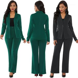 With Pencil Pant Suits Office Lady Outfit Suits Womens Solid 2pcs Blazers Sets Winter Woman Elegant Long Sleeve Coat