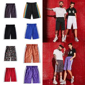 20ss erkek gündelik beş puanlık gündelik Plaj Şort Asya Boyut S-XL ağ var gökkuşağı şerit baskı tasarımcı kısa pantolon giysi mektup womens