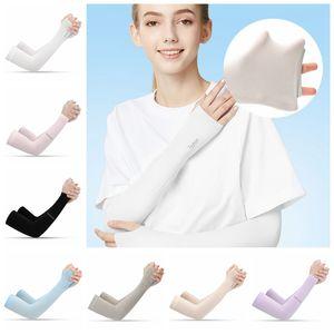 Outdoor Sports Fashion Ice Silk Sleeve Ice Cool Breathing Sunscreen Sleeve Summer Gloves for Men Women Riding Training Arm Warmer CYZ2577