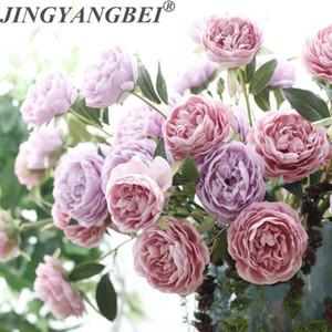 3 testa Peony di seta fiore artificiale ramo rosa bouquet fiori matrimonio decorazione della casa della falsificazione fiore