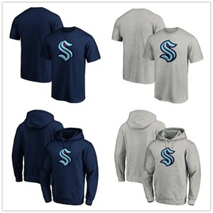 2020 Yeni Seattle Kraken Hokeyi Jersey Erkek Tişörtler Kazak Hoodie Kısa kollu Fanlar Tees Uzun Kazak Spor Tişörtlü Basım Tops