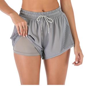 Yogaworld Mulheres Treinamento Yoga Falso Two Shorts da aptidão ao ar livre corrente de secagem rápida Hot Pants Black White Grey