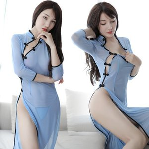 Erotic Long Cheongsam Dress Chinese Classical Babydoll Nightdress Sexy Students Cheongsam Costumes