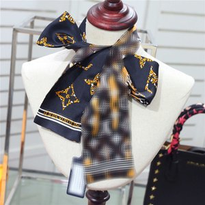 Classic Women' s Silk Scarves Ties Ribbon Bow Designer Ties Brand Headband Scarves For Bags Decoration