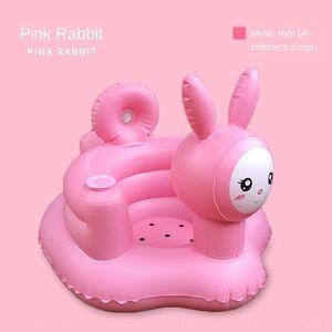 الوردي تعلم لتضخيم الأرنب الموسيقى طفل نفخ أريكة طفل كرسي التعلم الطعام حمام البراز PVC المنتجات للنفخ لعبة