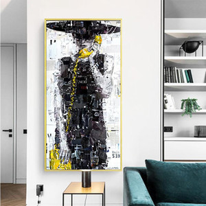 Romantic Calling Girl Abstract Canvas Oil Painting Wall Art Pop Art Picture for Girls Bedroom Modern Poster Prints Home Decoration Cuadros