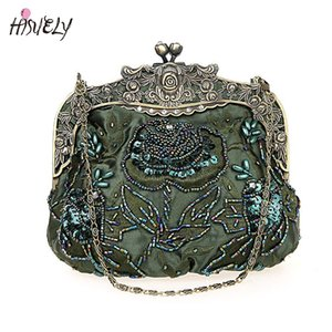 2020 New Vintage Beaded Evening Bag Embroidered Bag Diamond Sequined Clutch Hand Bride Free Shipping