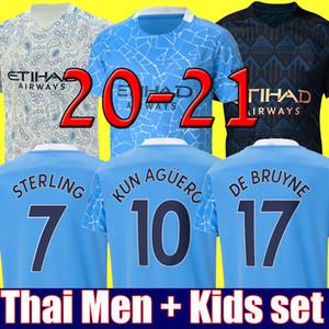 2020 2021 최고의 태국 STERLING DE BRUYNE KUN 아궤로 (19 개) (20 개) (21) 맨체스터 축구 저지 시티 저지 축구 셔츠 남자 아이 키트 세트 유니폼