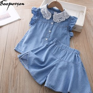 Gooporson Summer Fashion Little Girls Vêtements Set col en dentelle Denim manches Topshorts volant mignon Vêtements enfants Vêtements fille