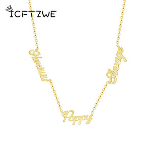 Custom Three Name Necklace Stainless Steel Gold Chain Choker Personalized Pendant Name Necklace Jewelry Best Gift For Boyfriend CX200725