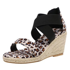 Sagace 2020 Wedges Shoes For Women Open Toe Breathable Beach Women Sandals Zipper Leopard Print Scarpe Donna Tacco Sandali cs06