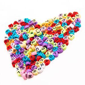 Heart Shaped Сыпучие бусины Акриловые бусины Письмо бусины в форме сердца Сердце Детская Г-жа милые детские ювелирные изделия аксессуары браслет украшения