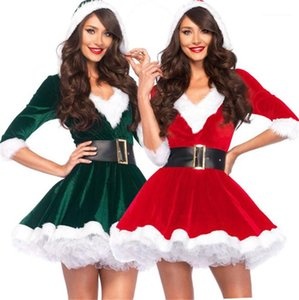 with Belt Festival Casual Ladies Theme Costume Christmas Womens Cosplay Clothes V Neck Long Sleeve Dresses