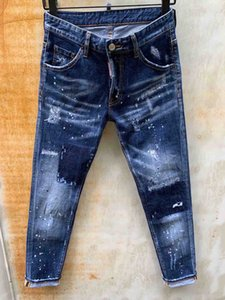 Mens Designer Jeans Hole Patch Distressed New Slim Denim Trousers European and American Style Hot Sale Asian Size 44-54