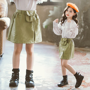 Automne INS Designs petites filles Designer Robes Corée style Filles PU jupe d'été Bébé Filles Jupes