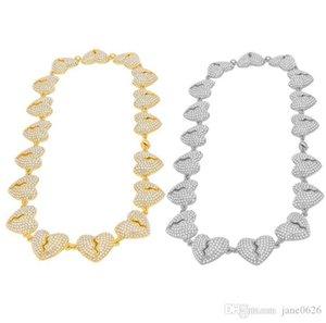 Unisex Hip Hop Iced Out Bling Heart Broken Diamond Punk Chain Link Novel Necklace Jewelry Men Women