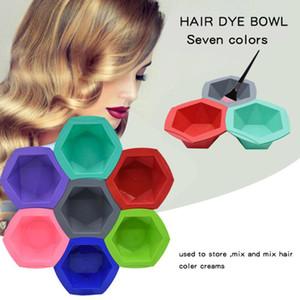 7 + 7pcs / set do cabelo colorido Morrer Brushes antiderrapante Fácil limpeza agitação Bowl Set Professional Salon Barber Cabelo Vestir Tools