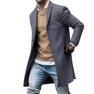 2020 Spring Men's Coat Wool Jacket High-quality Wool Coat Casual Slim Collar Woolen Men's Long Cotton Collar Trench