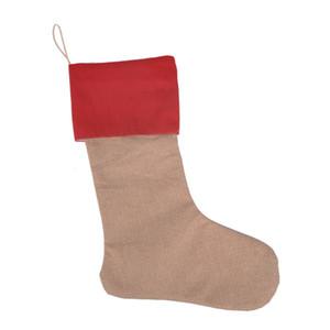 50шт Новогодних украшения холста носки чулки мешочек чулок 30 * 45см украшения рождественской елки Носки Xmas чулки 7styles