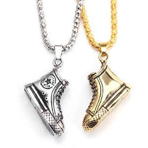 Fashion Antique Basketball Shoes Pendant Necklace Silver Color Handmade Necklace Hip Hop Jewelry For Sports Men Dropshiping