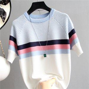 shintimes suéter de manga corta de las mujeres de copa rayado 2020 a cuadros de punto de algodón estilo coreano ropa de mujer Camisetas Mujer Tire Femme Y200722