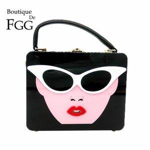 "Boutique De FGG ""Ladies with Glasses"" Acrylic Box Clutch Women Totes Handbag Fashion Party Hard Case Shoulder Bags Crossobdy Bag"