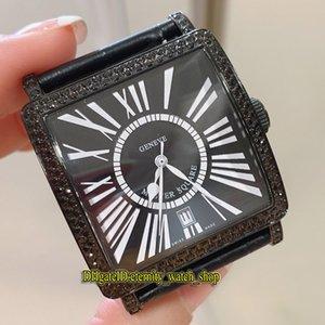 Лучшая версия New Master Square 6000 H SCD CODR черный циферблат ETA A2824 Автоматическая Женщина Часы Iced Out Алмазный декор ободок кожа Lady часы