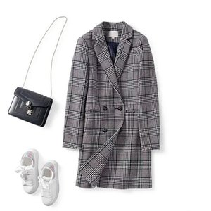 Women Coat 2020 Autumn   Winter New Double-breasted Plaid Wool Long Coat Women Wool & Blends