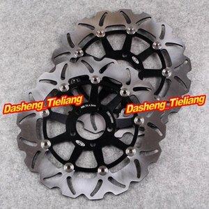 Los rotores de frenos de disco delanteros fijado para el ZXR750 1989-1995 ZXR 750R 1989-1992 ZRX 1200S 2001-2006 ZZR1100 1990-1992 7yUj #