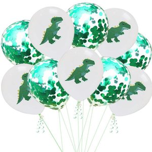 10er viel 12inch grüner Dinosaurier-Latex BalloneConfetti-Geburtstags-Party-Dekorationen Baby Shower Dekoration Helium Ballon