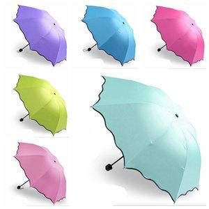 100шт / серия Зонтик Anti-UV Umbrella Зонт Зонт Magic Flower Dome Солнцезащитные Портативные 3-Сложенные пыле EEA1852