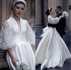 Vintage Satin Wedding Dresses Back Big Bow Ribbons Lace vestido de noiva 3 4 Long Sleeves Bridal Vestidos Cheap Long Train Wedding Gowns