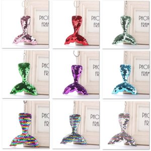 Colorful Sequins Keychain DIY Reflective Glossy Mermaid Tail Pendant Handbag Key ring Jewelry Accessories Christmas Gifts HH7-1935