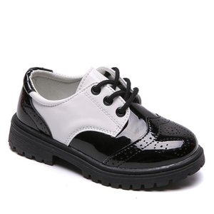 New Kids Leather Shoes Wedding Dress Shoes for Boys Girls Brand Children Black Performance Shoes Gentlemen Formal Wedge Sneakers