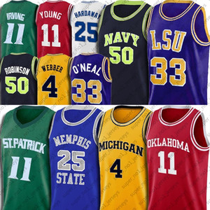 NCAA ANFERNEE PENNY SHAQUILLE HARDAWAY ONEAL Jersey Trae Chris Young Webber Jerseys Kyrie David Irving Robinson 7-30 Camiseta de baloncesto