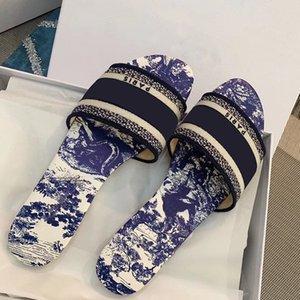 Frauen Slipper Dway Slides Amaranth gestickte Baumwolle Sommer-Strand-Sandalen Fashion Outdoor Schuhe Slides Sandalen gute Qualität mit Box