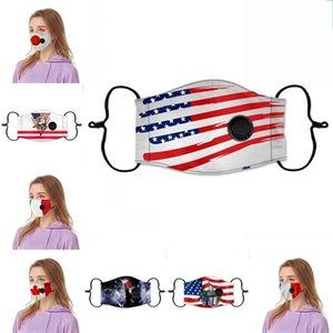 Flags America Nacionais máscara reutilizáveis Rosto Ventilação com a respiração Válvulas Respiradores Independence Days Mascarillas Anti Haze 6 9cp E2
