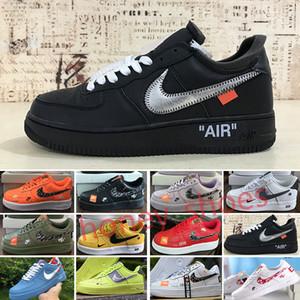 OFF White x Nike Air Force 1 OW chaussures 1 Blanc Noir Dunk femmes Forc Volt Hommes un sport Taille de la planche à roulettes lié coupe bas Formateurs concepteurs 36-45 Y4