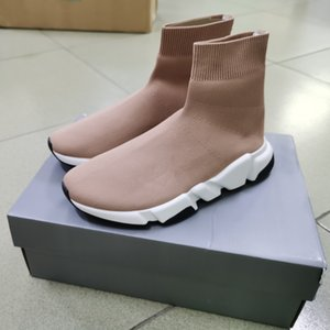 2020 Homens Velocidade Meia sapatilha Nude stretch-knit mediana Sneakers Mulheres Leve Mid-treinador top slip-on Runner Shoes Casual Box