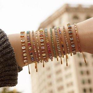 Best lady Boho Shiny Crystal Bracelets for Women Multi Color Hand Chain Female Wedding Jewelry Glass Charm Bracelets Bangles New