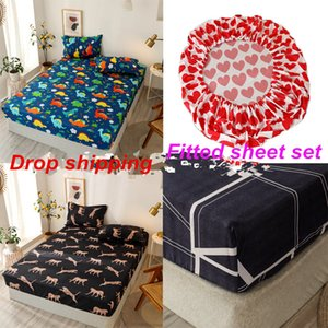 Summer fitted sheet set modern bed mattress cover 3pcs set sheet set elastic rubber bedclothes drop shipping home new