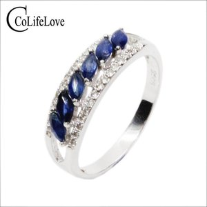 Fashion sapphire silver ring 6pcs 2mm*4mm natural midnight blue sapphire silver ring solid 925 silver gemstone ring