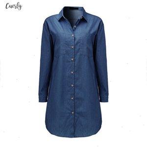 Twill Mini Women Dress 2020 Autumn Casual Loose Long Sleeve Button Shirt Dresses Denim Vestidos Long Tops Plus Size S 5Xl Designer